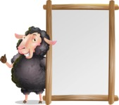 Black Sheep Cartoon Vector Character - Making thumbs up with Big Presentation board