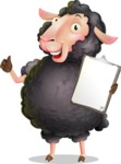 Black Sheep Cartoon Vector Character - Making thumbs up with notepad