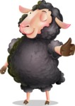 Black Sheep Cartoon Vector Character - Making Thumbs Up