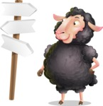 Black Sheep Cartoon Vector Character - on a Crossroad with sign pointing in all directions