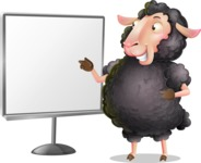 Black Sheep Cartoon Vector Character - Pointing on a Blank whiteboard
