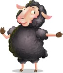 Black Sheep Cartoon Vector Character - Pointing with a fnger