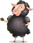 Black Sheep Cartoon Vector Character - Pointing with both hands
