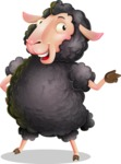 Black Sheep Cartoon Vector Character - Pointing with left hand