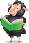 Black Sheep Cartoon Vector Character - Reading a book