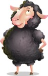 Black Sheep Cartoon Vector Character - Rolling Eyes