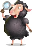 Black Sheep Cartoon Vector Character - Searching with magnifying glass