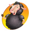 Black Sheep Cartoon Vector Character - Shape 1