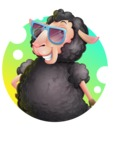 Black Sheep Cartoon Vector Character - Shape 2