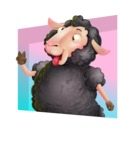 Black Sheep Cartoon Vector Character - Shape 3