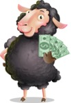 Black Sheep Cartoon Vector Character - Show me the Money