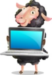 Black Sheep Cartoon Vector Character - Showing a laptop