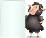 Black Sheep Cartoon Vector Character - Showing Big Blank banner