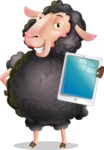 Black Sheep Cartoon Vector Character - Showing tablet