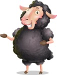 Black Sheep Cartoon Vector Character - Showing with both hands