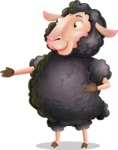 Black Sheep Cartoon Vector Character - Showing with right hand