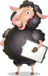 Black Sheep Cartoon Vector Character - Smiling and holding notepad