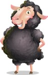 Black Sheep Cartoon Vector Character - Smiling