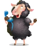 Black Sheep Cartoon Vector Character - Talking on phone