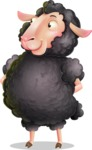 Black Sheep Cartoon Vector Character - Waiting with hands behind back