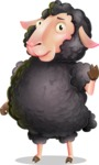 Black Sheep Cartoon Vector Character - Waving for Goodbye with a hand
