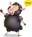 Black Sheep Cartoon Vector Character - Waving for Hello with a hand