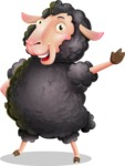 Black Sheep Cartoon Vector Character - Waving