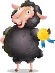 Black Sheep Cartoon Vector Character - Winning prize
