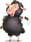 Black Sheep Cartoon Vector Character - with a Blank Business card