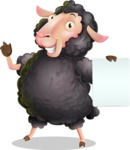 Black Sheep Cartoon Vector Character - with a Blank paper
