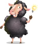 Black Sheep Cartoon Vector Character - with a Light bulb