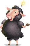 Black Sheep Cartoon Vector Character - with an Idea