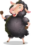 Black Sheep Cartoon Vector Character - with Angry face
