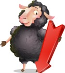 Black Sheep Cartoon Vector Character - with Arrow going Down