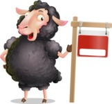 Black Sheep Cartoon Vector Character - with Blank Real estate sign