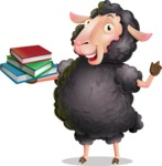 Black Sheep Cartoon Vector Character - with Books