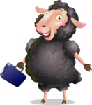 Black Sheep Cartoon Vector Character - with Briefcase