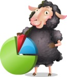 Black Sheep Cartoon Vector Character - with Business graph