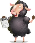 Black Sheep Cartoon Vector Character - with Calculator