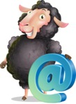 Black Sheep Cartoon Vector Character - with Email sign