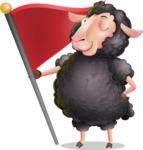 Black Sheep Cartoon Vector Character - with Flag