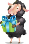 Black Sheep Cartoon Vector Character - with Gift box