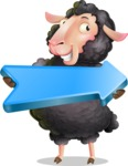 Black Sheep Cartoon Vector Character - with Positive arrow