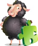 Black Sheep Cartoon Vector Character - with Puzzle