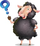 Black Sheep Cartoon Vector Character - with Question mark