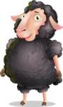 Black Sheep Cartoon Vector Character - with Sad face