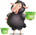 Black Sheep Cartoon Vector Character - with Sale boxes