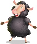 Black Sheep Cartoon Vector Character - with Stunned face