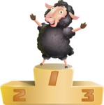 Black Sheep Cartoon Vector Character - with Success on Top