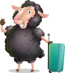 Black Sheep Cartoon Vector Character - with Suitcase